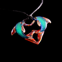 Dolphins Dichroic Pendant by Turtle Glass