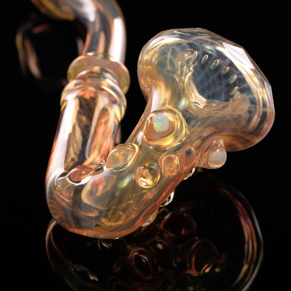 Doom Glass - Fumed and Faceted Sherlock with Opals